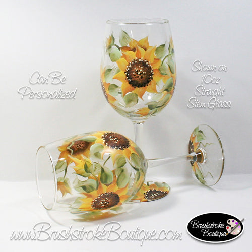 Hand Painted Wine Glass - Sunflowers - Original Designs by Cathy Kraemer