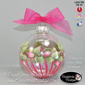 Rosebuds and Stripes Ornament - Hand Painted Glass Ball Ornament - Original Designs by Cathy Kraemer
