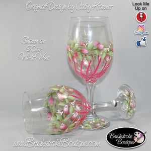 Hand Painted Wine Glass - Rosebuds and Stripes - Original Designs by Cathy Kraemer