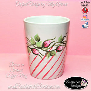 Hand Painted Coffee Mug - Rosebuds and Stripes - Original Designs by Cathy Kraemer