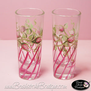 Hand Painted Shot Glasses - Rosebuds and Stripes - Original Designs by Cathy Kraemer