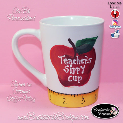 Hand Painted Coffee Mug - Teacher Apple - Original Designs by Cathy Kraemer