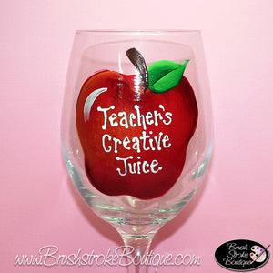Hand Painted Wine Glass - Teacher Apple - Original Designs by Cathy Kraemer
