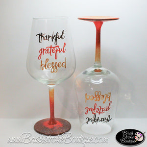 Hand Painted Wine Glass - Thankful - Original Designs by Cathy Kraemer