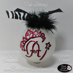 Hand Painted Ornament - Glass Ball Ornament - Tiara Initials - Original Designs by Cathy Kraemer