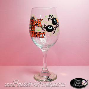 Hand Painted Wine Glass - Trick-Or-Treat - Original Designs by Cathy Kraemer
