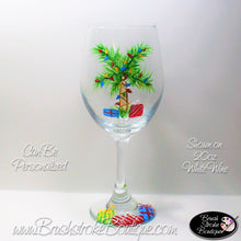 Hand Painted Wine Glass - Tropical Christmas Palm Tree - Original Designs by Cathy Kraemer