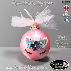 Hand Painted Ornament - Glass Ball Ornament - Unicorn Face Colors - Original Designs by Cathy Kraemer