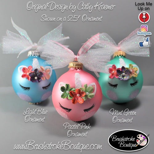 Hand Painted Ornament - Unicorn Face Colors - Original Designs by Cathy Kraemer