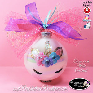 Hand Painted Ornament - Glass Ball Ornament - Unicorn Face - Original Designs by Cathy Kraemer