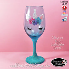 Hand Painted Wine Glass - Teal Unicorn Face - Original Designs by Cathy Kraemer