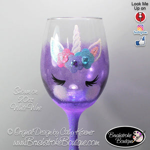 Hand Painted Wine Glass - Purple Unicorn Face - Original Designs by Cathy Kraemer