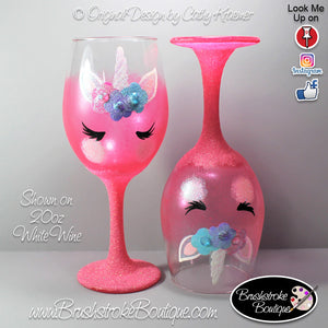 Hand Painted Wine Glass - Pink Unicorn Face - Original Designs by Cathy Kraemer