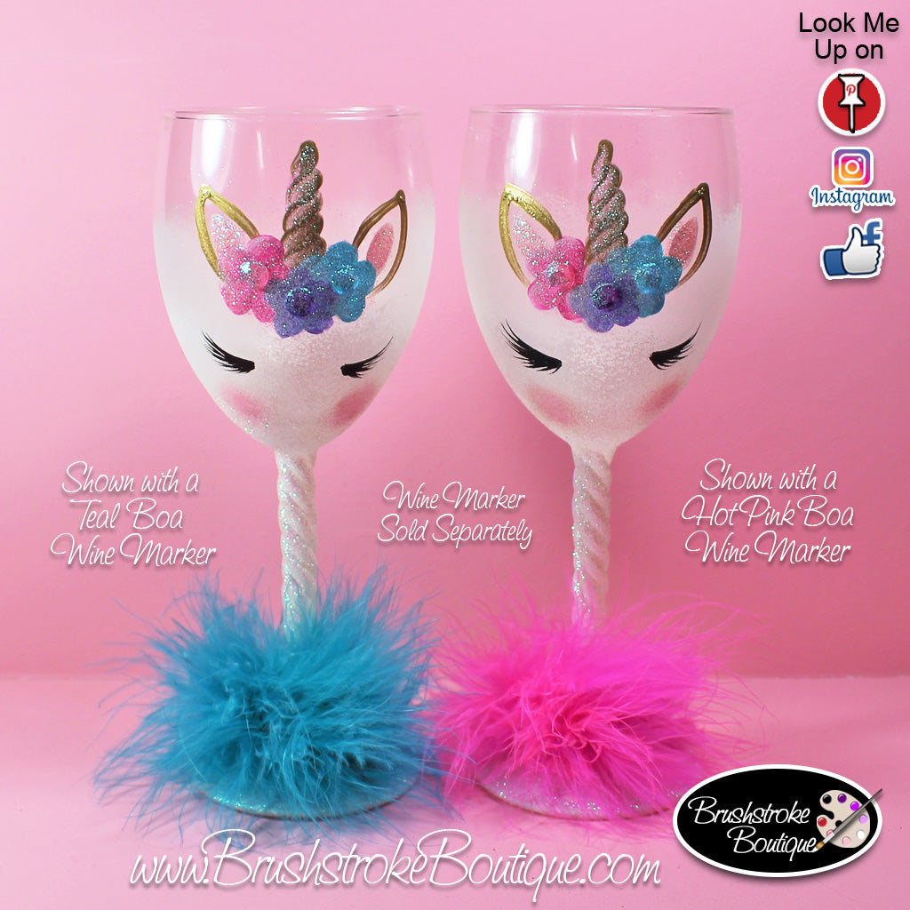 Hand Painted Wine Glass - White Unicorn Face - Original Designs by Cat