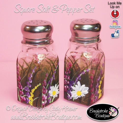 Hand Painted Salt & Pepper Shakers - Wildflowers - Original Designs by Cathy Kraemer