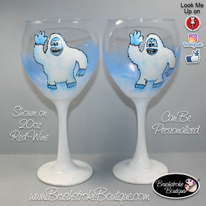 Hand Painted Wine Glass - Abominable Snowman Yeti - Original Designs by Cathy Kraemer