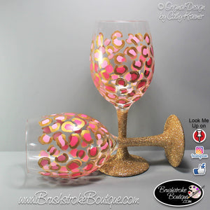 Hand Painted Wine Glass - Girl Glam Leopard - Original Designs by Cathy Kraemer
