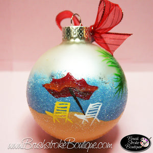 Beachy Keen Ornament - Hand Painted Glass Ball Ornament - Original Designs by Cathy Kraemer