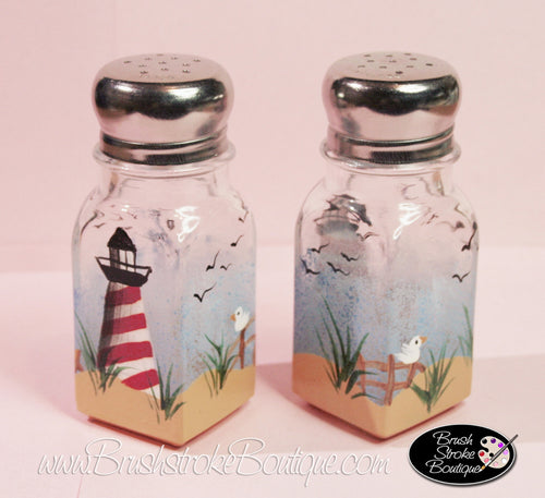 Hand Painted Salt & Pepper Shakers - Lighthouse - Original Designs by Cathy Kraemer
