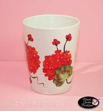 Hand Painted Coffee Mug - Geraniums - Original Designs by Cathy Kraemer