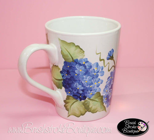 Hand Painted Coffee Mug - Blue Hydrangeas - Original Designs by Cathy Kraemer