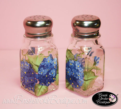 Hand Painted Salt & Pepper Shakers - Blue Hydrangeas - Original Designs by Cathy Kraemer