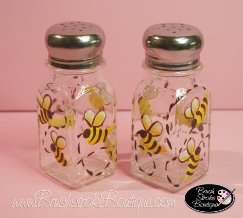 Hand Painted Salt & Pepper Shakers - Bumble Bees - Original Designs by Cathy Kraemer