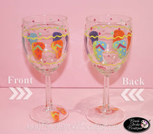 Hand Painted Wine Glass - Flip Flops - Original Designs by Cathy Kraemer
