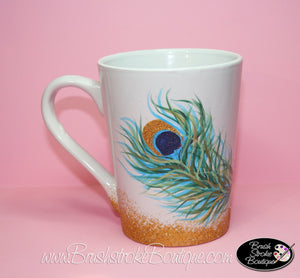 Hand Painted Coffee Mug - Peacock Feather - Original Designs by Cathy Kraemer
