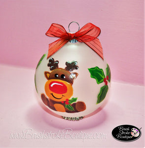 Cute Lil Christmas Reindeer Ornament - Hand Painted Glass Ball Ornament - Original Designs by Cathy Kraemer