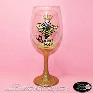 Hand Painted Wine Glass - Queen Bee - Original Designs by Cathy Kraemer