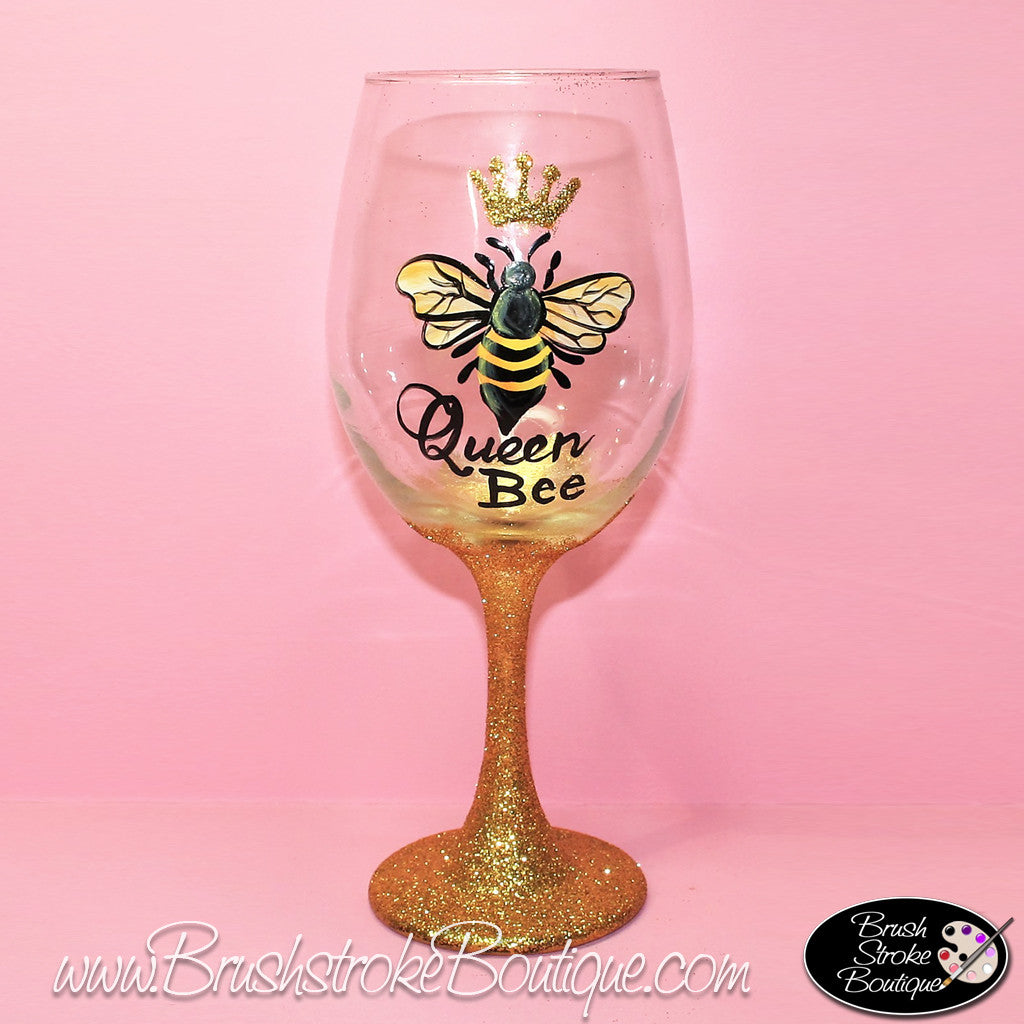 Hand painted wine glass queen bee original designs by for Hand designed wine glasses