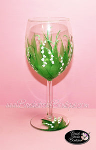 Hand Painted Wine Glass - Lily of the Valley - Original Designs by Cathy Kraemer