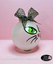 Kitty Cat Face Ornament - Hand Painted Glass Ball Ornament - Original Designs by Cathy Kraemer