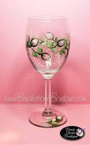 Hand Painted Wine Glass - Rosebuds - Original Designs by Cathy Kraemer