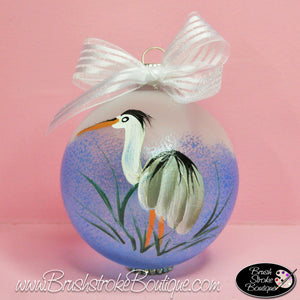 Heron Ornament - Hand Painted Glass Ball Ornament - Original Designs by Cathy Kraemer