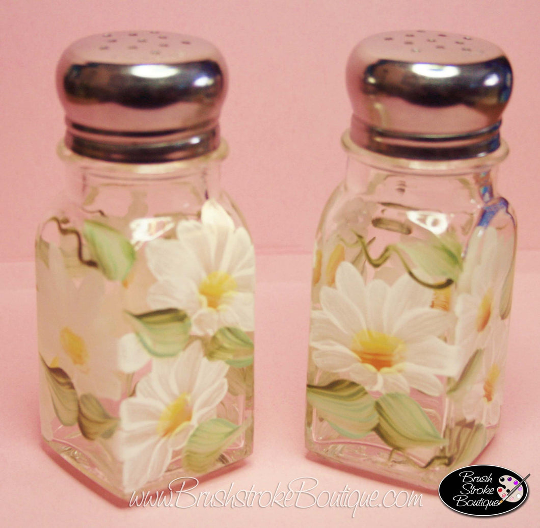 Hand Painted Salt & Pepper Shakers - Daisies -  Original Designs by Cathy Kraemer