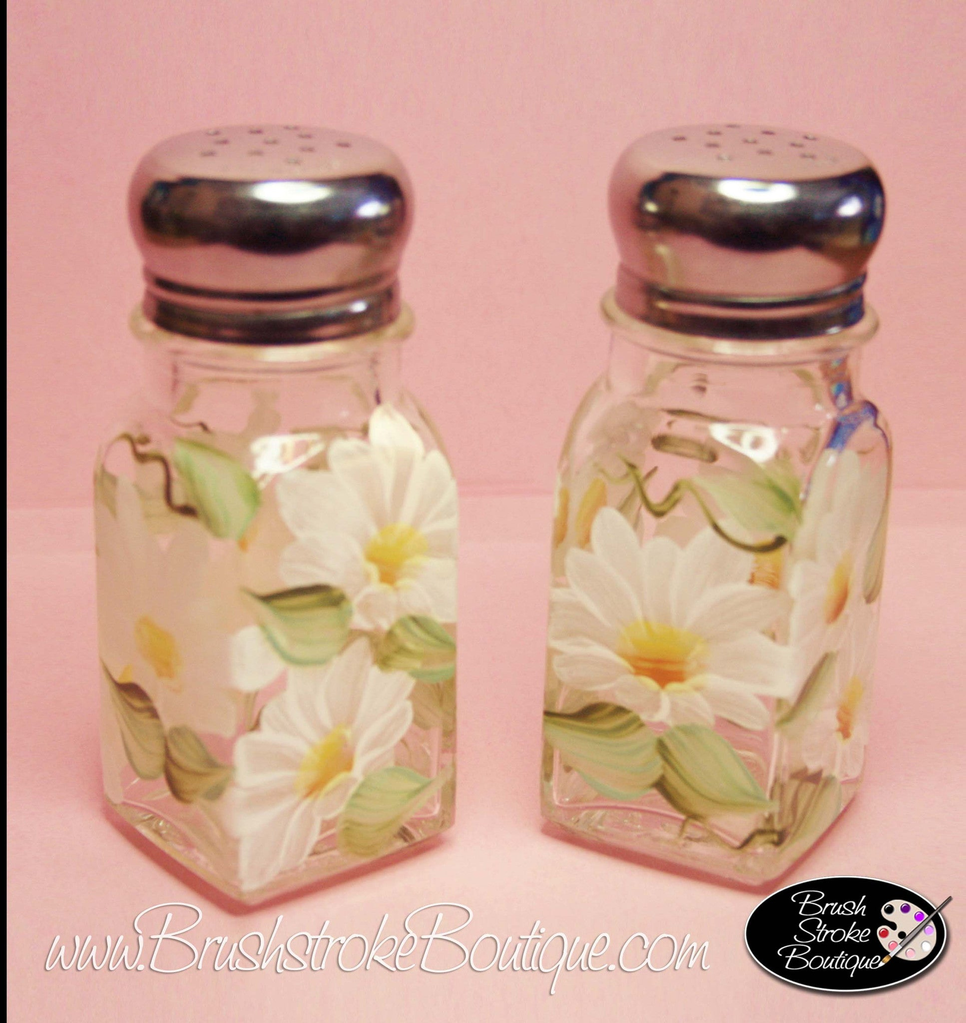 Hand Painted Salt & Pepper Shakers - Daisies - Original Designs by Cat