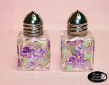 Hand Painted Salt & Pepper Shakers - Purple Forget-Me-Nots - Original Designs by Cathy Kraemer