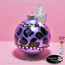 Hand Painted Ornament - Glass Ball Ornament -Leopard Bling - Original Designs by Cathy Kraemer