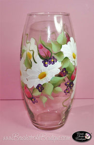 Hand Painted Vase - Daisy Garden - Original Designs by Cathy Kraemer