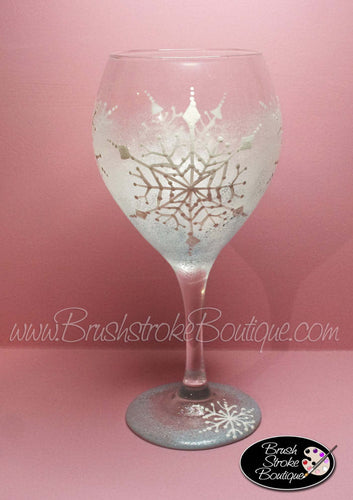 Hand Painted Wine Glass - Frosty Snowflakes - Original Designs by Cathy Kraemer