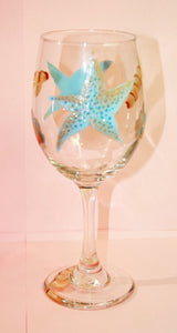 Hand Painted Wine Glass - Sea Shells - Original Designs by Cathy Kraemer