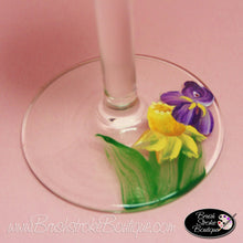 Hand Painted Wine Glass - Daffodils and Irises - Original Designs by Cathy Kraemer