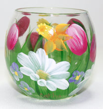 Hand Painted Wine Glass - Spring Bouquet - Original Designs by Cathy Kraemer