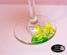 Hand Painted Wine Glass - Spring Daffodils - Original Designs by Cathy Kraemer