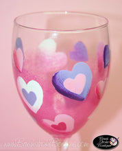 Hand Painted Wine Glass - Heart to Hearts - Original Designs by Cathy Kraemer