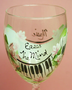 Hand Painted Wine Glass - Music Soothes - Original Designs by Cathy Kraemer