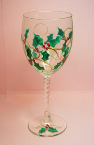Hand Painted Wine Glass - Happy Holly Days - Original Designs by Cathy Kraemer