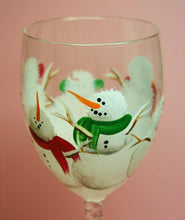 Hand Painted Wine Glass - Winter Snowmen - Original Designs by Cathy Kraemer
